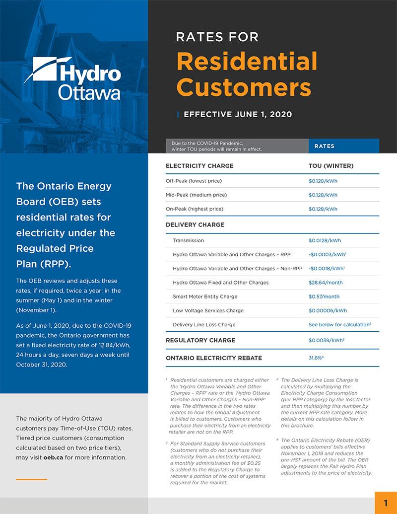 Residential Rates Hydro Ottawa